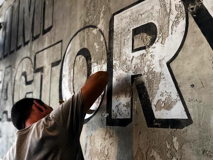 ציור קיר ייחודי לבית קפה בחיפה